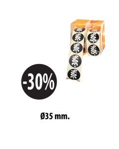 Svartir límmiðar m/ prósentum - 500 stk. -30%