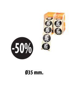 Svartir límmiðar m/ prósentum - 500 stk. -50%